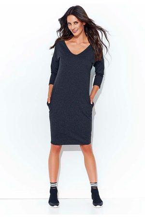 Makadamia Kobieta Sukienki midi - Grafitowa prosta midi sukienka w serek z kieszeniami