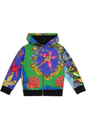 VERSACE Chłopiec Bluzy z kapturem - Printed cotton jersey hoodie
