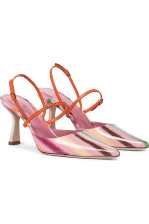 By Far Striped leather pumps