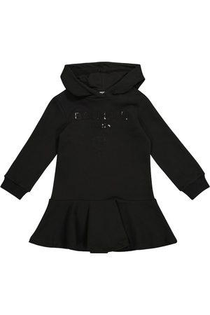 Balmain Dziewczynka Bluzy z kapturem - Sequined logo cotton hoodie dress