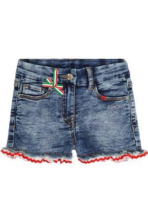 MONNALISA Dziewczynka Szorty - Embellished denim shorts