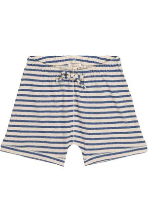 Caramel Piranha striped cotton and linen shorts