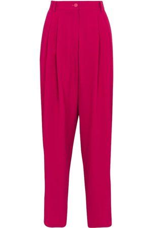 Dolce & Gabbana Kobieta Spodnie - High-rise tapered stretch-crêpe pants