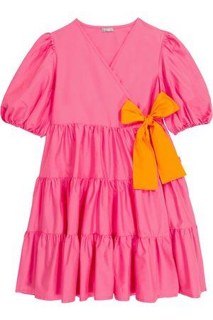Il gufo Dziewczynka Sukienki - Tiered stretch-cotton wrap dress