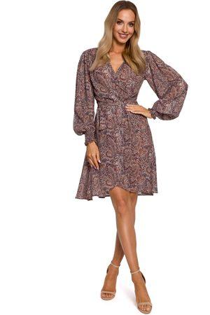 MOE Kobieta Sukienki z nadrukiem - Zwiewna sukienka na zakładkę w tureckie wzory - model 1