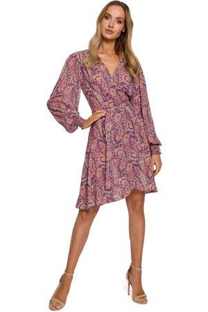 MOE Kobieta Sukienki z nadrukiem - Zwiewna sukienka na zakładkę w tureckie wzory - model 2