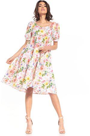 Tessita Kobieta Sukienki z nadrukiem - Sukienka midi z falbanką we wzory - wielokolorowe kwiaty