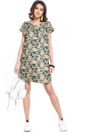Tessita Wzorzysta mini sukienka - ciemne moro