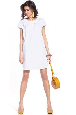 Tessita Kobieta Sukienki koktajlowe i wieczorowe - Luźna sukienka z krótkim rękawem - biała