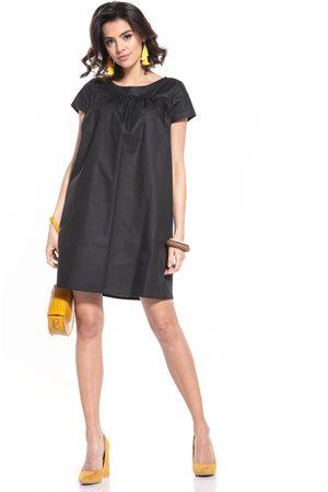 Tessita Kobieta Sukienki koktajlowe i wieczorowe - Luźna sukienka z krótkim rękawem - czarna
