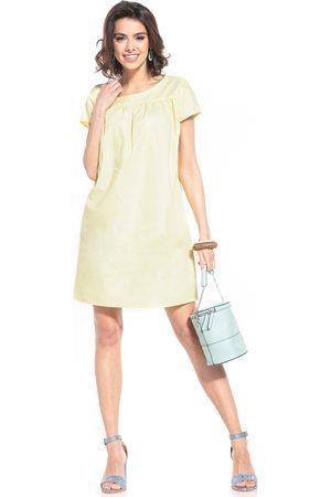 Tessita Kobieta Sukienki koktajlowe i wieczorowe - Luźna sukienka z krótkim rękawem - żółta