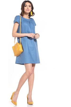 Tessita Kobieta Sukienki koktajlowe i wieczorowe - Luźna sukienka z krótkim rękawem - niebieska