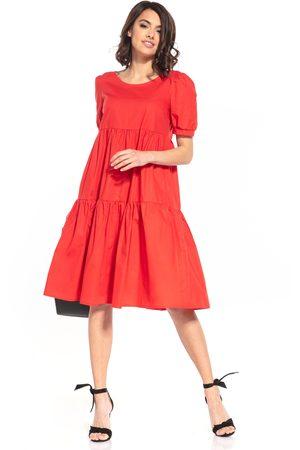 Tessita Kobieta Sukienki midi - Zwiewna midi sukienka - czerwonah