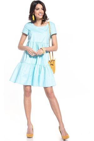 Tessita Kobieta Sukienki mini - Bawełniana mini sukienka z owalnym dekoltem - jasnoniebieska