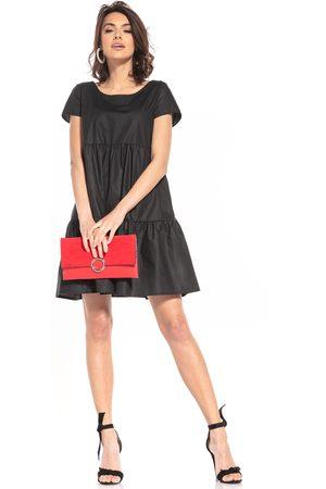 Tessita Bawełniana mini sukienka z owalnym dekoltem - czarna