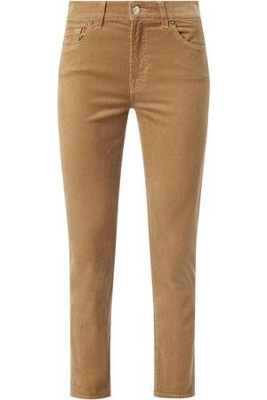 7 for all Mankind Spodnie sztruksowe nad kostkę z detalami z logo model 'Roxanne'