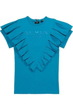 Balmain Ruffle-trimmed cotton jersey dress