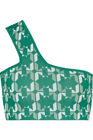 DODO BAR OR One-shoulder jacquard crop top