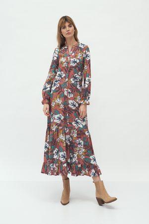 Nife Kobieta Sukienki z nadrukiem - Długa sukienka z falbanką - kwiaty