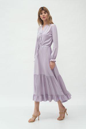 Nife Kobieta Sukienki koktajlowe i wieczorowe - Rozpinana sukienka z falbankami - lila