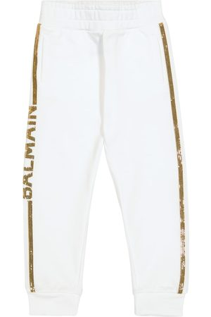 Balmain Kids Sequined cotton sweatpants
