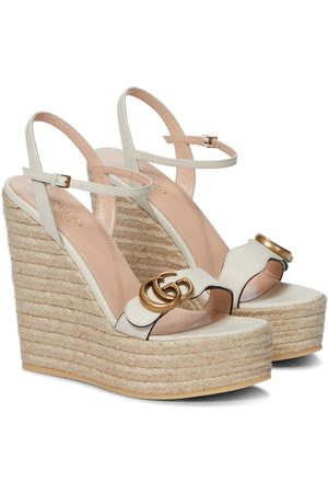 Gucci Kobieta Sandały - Double GG leather espadrille wedge sandals