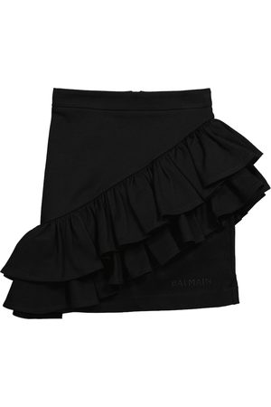 Balmain Ruffled cotton miniskirt