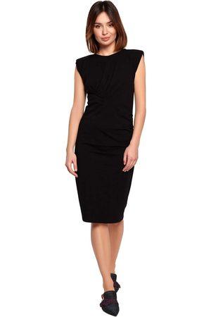 MOE Bawełniana sukienka z marszczeniami - czarna