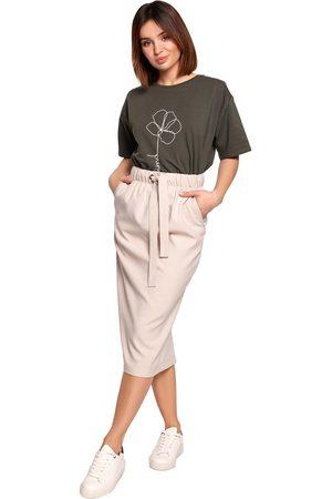 Moe Kobieta Spódnice ołówkowe - Ołówkowa midi spódnica z wiązanym troczkiem - beżowa
