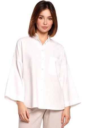 MOE Oversizowa koszula z szerokim rękawem 3/4 - biała