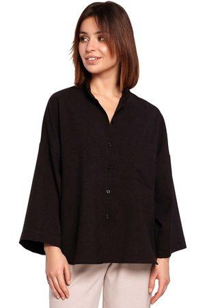 MOE Kobieta Koszule - Oversizowa koszula z szerokim rękawem 3/4 - czarna