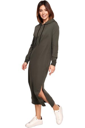 MOE Sportowa midi sukienka z kapturem - zielona