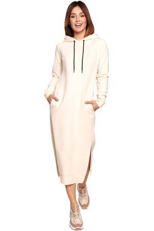 MOE Kobieta Sukienki midi - Sportowa midi sukienka z kapturem - śmietankowa