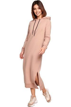 Moe Sportowa midi sukienka z kapturem - mocca