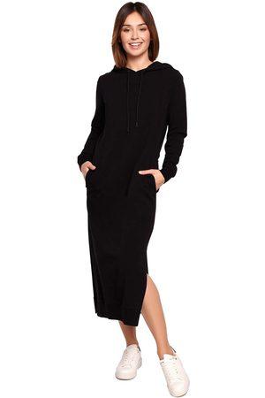 MOE Sportowa midi sukienka z kapturem - czarna