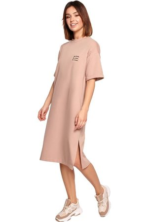 MOE Kobieta Sukienki koktajlowe i wieczorowe - Swobodna sukienka bawełniana - mocca
