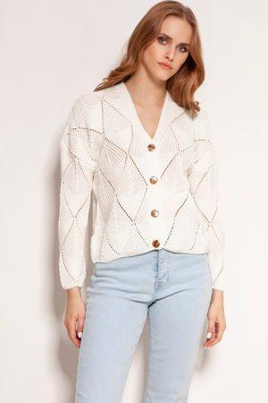 Lanti Kobieta Swetry i Pulowery - Ażurowy rozpinany sweter - ecru