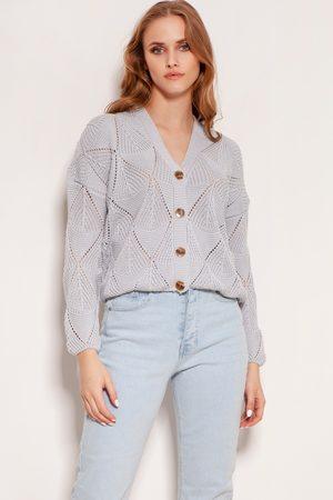 Lanti Kobieta Swetry i Pulowery - Ażurowy rozpinany sweter