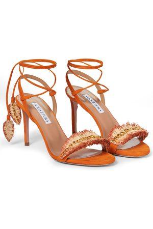 Aquazzura Isla 85 embellished suede sandals