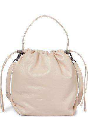 Brunello Cucinelli Kobieta Torby worki - Leather bucket bag
