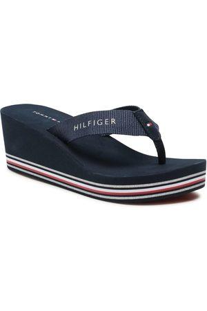 Tommy Hilfiger Kobieta Sandały - Japonki - Stripes Wedge Beach Sandal FW0FW05655 Desert Sky DW5