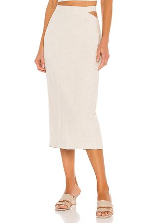 Bardot Midi Cut Out Skirt in - Beige. Size L (also in S, XS, M).