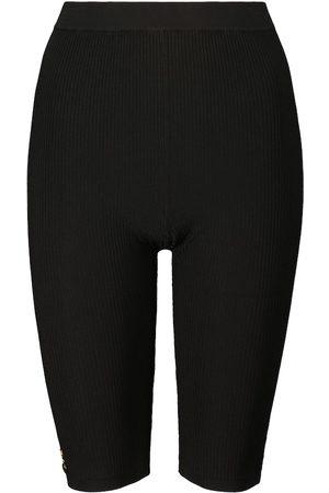 Saint Laurent Kobieta Szorty - Ribbed-knit biker shorts