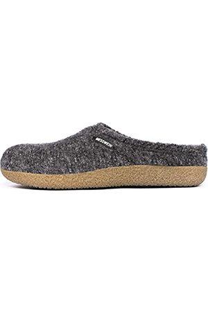 Giesswein Kapcie Veitsch – pantofle filcowe dla mężczyzn i kobiet, skórzane wkładki, ciepłe kapcie unisex, jasnoszary - łupek - 41 EU