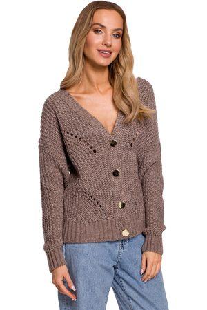 MOE Kobieta Swetry i Pulowery - Wiosenno-letni sweter na guziki z ażurem - mocca