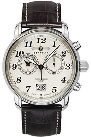 Zeppelin Zegarek męski chronograf kwarcowy ze skórzanym paskiem – 76845