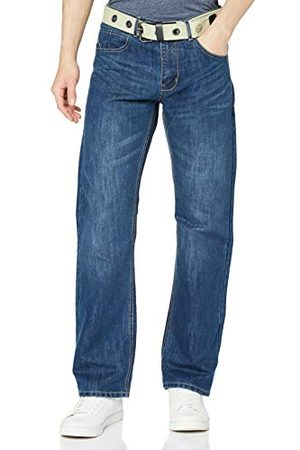 Enzo Męskie dżinsy Ez15, luźne dopasowanie, niebieskie (pranie średnie), 40 W / 32 L