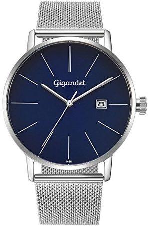 Gigandet Męski zegarek na rękę minimalistyczny kwarcowy analogowy z bransoletką ze stali szlachetnej srebrny G42-014