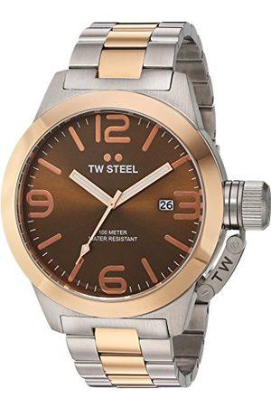TW steel Stołówka Unisex Zegarek kwarcowy z brązową tarczą analogową i szarą bransoletą ze stali nierdzewnej pozłacaną różowym złotem Bransoletka 50 mm Quartz Analogue