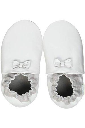 Robeez Unisex Baby Collection Knot kapcie, - Weiß Silberfarben - 22 EU